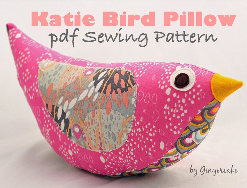Katie Bird Stuffed Pillow PDF Sewing Pattern Easy Fast image 0