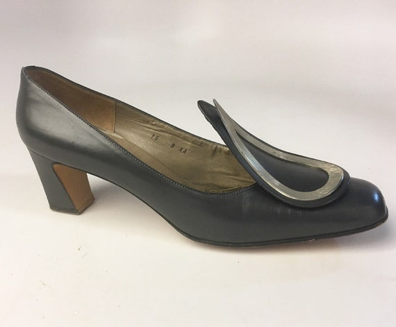 Vintage Shoes - 60s Ferragamo - Leather Mod Heels