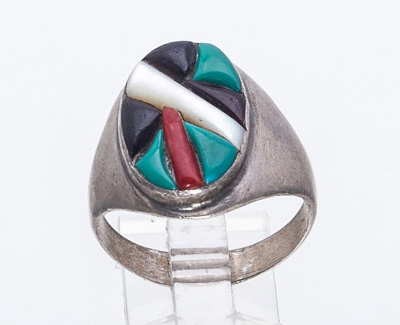 Vintage 70s Chip Inlay FREE US Shopping sz 5 12 Long Turquoise /& Coral Ring