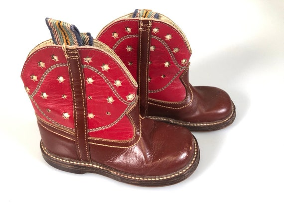 Vintage Toddler Western Boots -  Cowboy Red Ropers