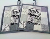 Farmhouse Style  Pot Holder Set -  Quilted - Gray  White  - Patchwork - Machine Embroidered - Set of 2 - Cow Pot Holder -