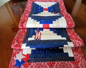 Patriotic Table Runner - Quilted Red White & Blue Table Topper - Patriotic Bird / House  Decor - July 4th Table Decor - Independence Day