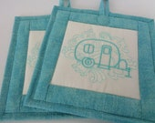 Camper Quilted Pot Holders - Set of 2 Hot Pads - Quilted Hot Pads - Trivets -  Teal and White - Kitchen Set- Quiltsy Handmade
