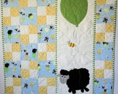 Lamb Baby Quilt - Quiltsy  Baby Quilt Challenge -  Suzy Bee - Baby Shower Gift - Appliqued Baby Quilt - Gender Neutral Baby Quilt