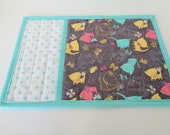 Cat Quilted Mug Rug - Kitty Mug Mat - Gray Aqua Pink Yellow - Cat Candle Mat - Mini Placemat - Reversible -Quiltsy Handmade - Bird Mug Rug -
