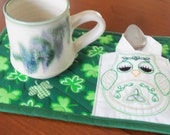 St Patrick's Day Owl Quilted Mug Rug/Mug Rug Quilted/ Mug Mat /Owl Mini Placemat/ Quilted Mini Placemat/Shamrock Mug Rug/Shamrock Mug Mat