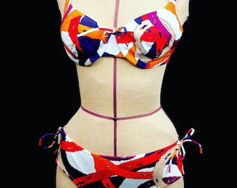 d2ddc18ab4287 1960 s BALI bikini swimsuit bathing suit true vintage red painter bombshell  abstract 2 peice swim pin up vixen bullet 34C M