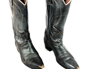 b01ef2efbb88 80 s Nocona Texas distressed vintage shiny dark brown womens western tall  cowboy boots ladies 7B