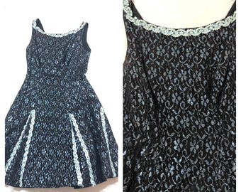 0ecdddc4 vtg 1950's holiday Blue Sparkle lace fit flare hour glass dress handmade  new year full circle skirt M 26