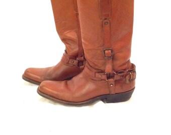 5ef666b5 Vintage brown Frye motorcycle boots 8 womens 9.5 western harness biker  caramel leather