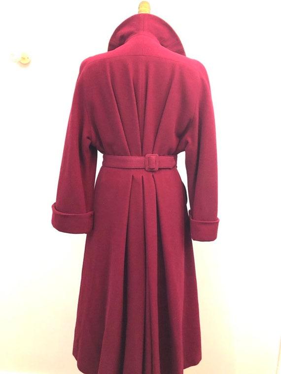 1940's crimson wool princess dress coat rare size… - image 3