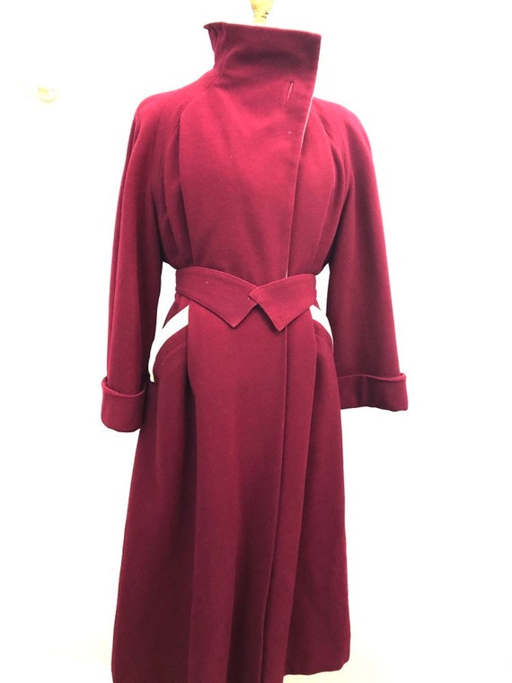 1940's crimson wool princess dress coat rare size