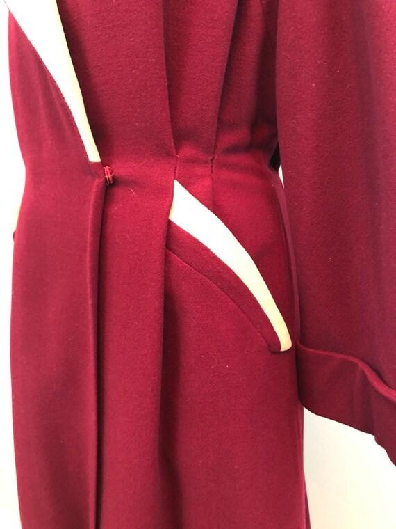 1940's crimson wool princess dress coat rare size… - image 8