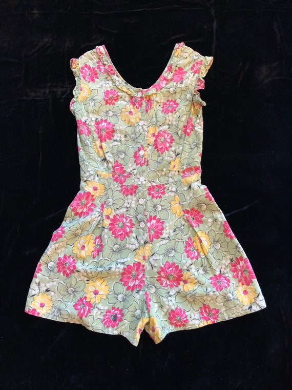 1930's floral linen romper one peice playsuit beac