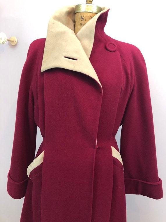 1940's crimson wool princess dress coat rare size… - image 2