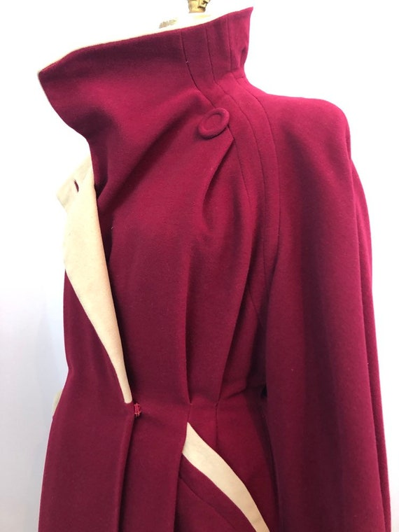 1940's crimson wool princess dress coat rare size… - image 4