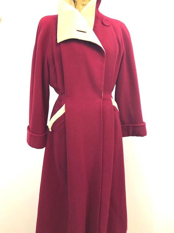 1940's crimson wool princess dress coat rare size… - image 6