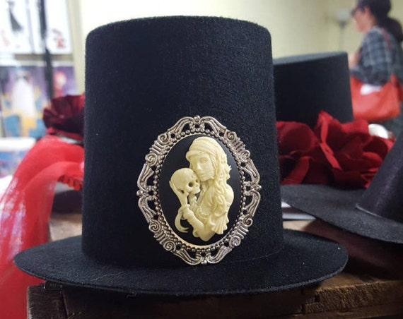1371586f Mini Top Hat with Skull Cameo Halloween Steampunk | Etsy