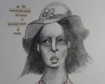 Drawing Portrait Woman Hat