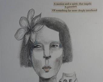 Drawing Portrait  Woman Owl