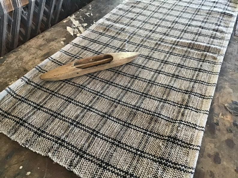Black Tan double stripe check wool cotton table runner  hand woven cloth  different sizes rustic
