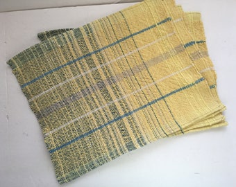 Yellow Blue mats napkins 12 x 15 hemmed cotton variegated washable textured  hand woven