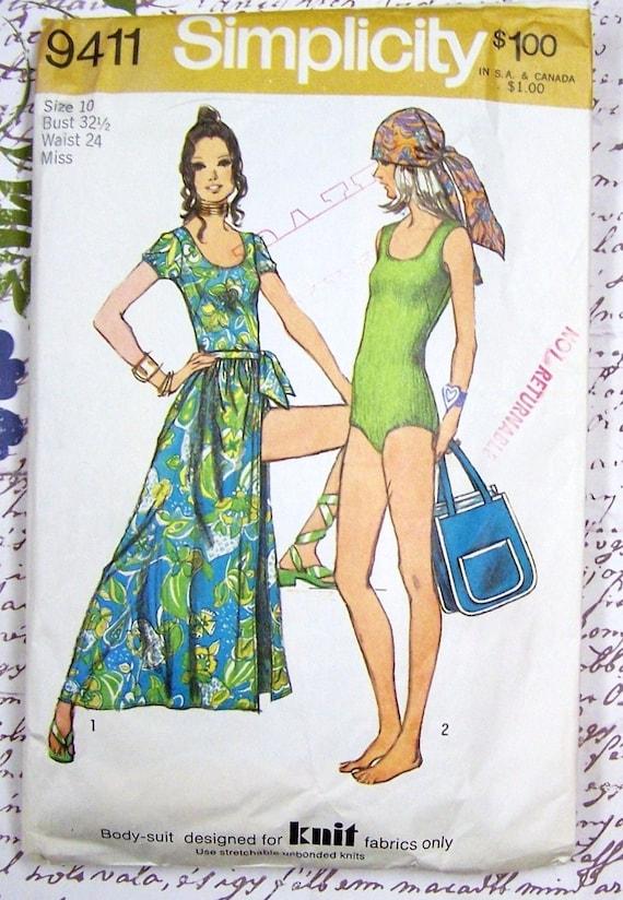 Einfachheit 9411 Ganzkörperanzug, Wickelrock und Tasche Vintage ...