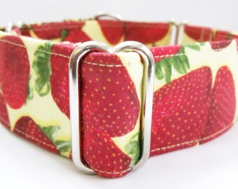 Strawberries on Yellow Greyhound, Whippet, Galgo, Pit Bull, Dog, Sighthound Martingale Collar