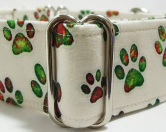 Cream with Multi colored Puppy Paws Greyhound, Whippet, Dog, Pit Bull, Doberman, Galgo Martingale Collar