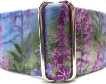 Nature's Bounty Blue, Purple and Green Greyhound, Whippet, Galgo, Pit Bull, Dog, Sighthound Martingale Collar