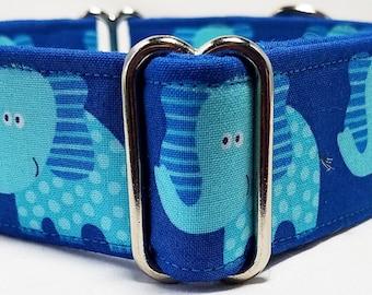 Turquoise Elephants on Blue Greyhound, Whippet, Galgo, Pit Bull, Dog, Sighthound Martingale Collar