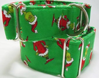 Grinch on Green Cotton Greyhound, Whippet, Galgo, Pit Bull, Dog, Sighthound Martingale Collar