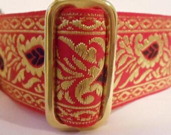 "1.5"" Red and Gold Metallic Jacquard Ribbon Martingale Collar"