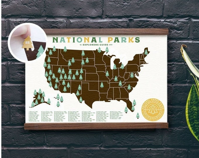 11x17 National Parks print with Tree stickers