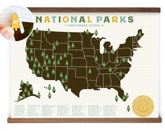 National Parks Map print with Tree Stickers and frame to keep track of your travels