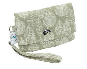 Organic Handmade Mini Clutch - Kaki Leaf - Free Shipping