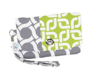 Organic Handmade Mini Clutch Gray Circles and Green Sprouts - Free Shipping