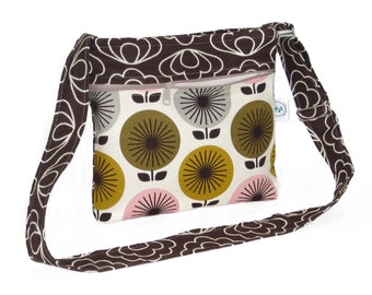 Organic Hip Hobo Cross Body Purse - Brown Blossom with Retro Flowers - Free Shipping