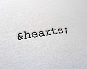HTML &hearts letterpress greeting card, blank inside