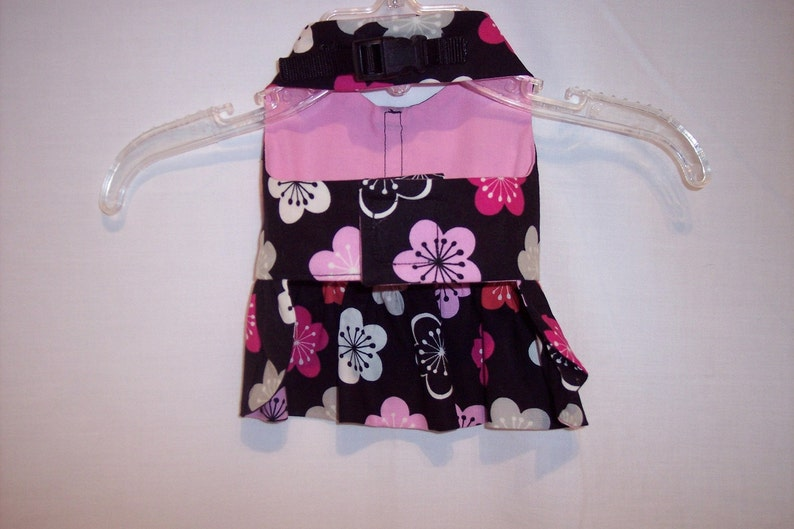 HARNESS DRESS FLORAL Pink and Black