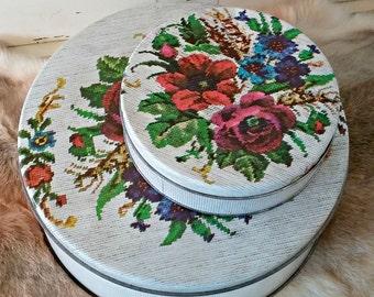 Vintage Floral Tin Container Set