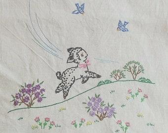 Vintage Embroidery   Lamb Dresser Scarf
