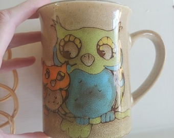 Vintage Stoneware Coffee Mug with Owls