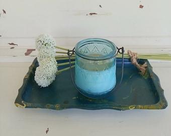 Vintage Plastic Tray | Marbleized blue Plastic