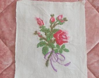 Vintage Crewel Pink Roses, Ready for Framing