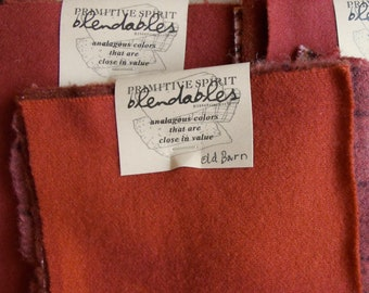Old Barn Red Blendable Wool Packet Limited Edition//felted 100% wool for hooking, appliqué, sewing, quilting//by Karen Kahle