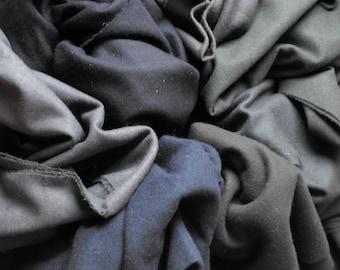Darkest Black Blendable Packet//quarter yards of wool//felted 100% wool for hooking, appliqué, sewing, quilting//4 colors/Karen Kahle