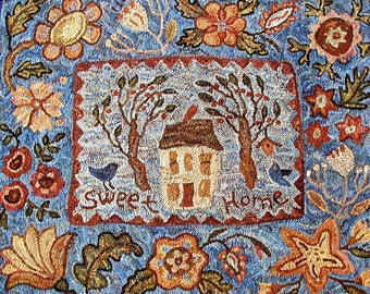 House and Trees floral//Fruitlands rug hooking PATTERN ONLY on linen//blues and peach