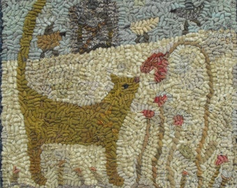 Itty Bitty In The Garden Pattern PDF for rug hooking and punchneedle embroidery