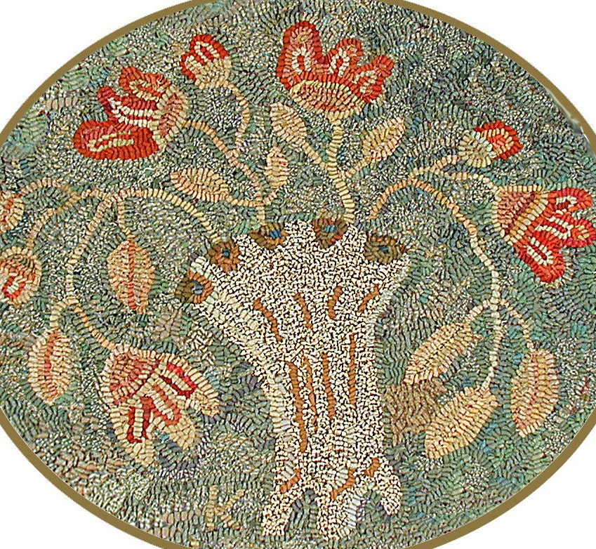 Floral Rug Hooking Pattern//Nosegay//oval//muted